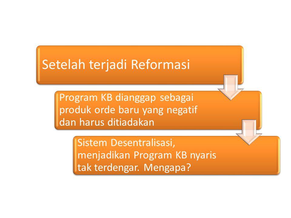 Setelah terjadi Reformasi Program KB dianggap sebagai produk orde baru yang negatif dan harus ditiadakan Sistem Desentralisasi, menjadikan Program KB nyaris tak terdengar.