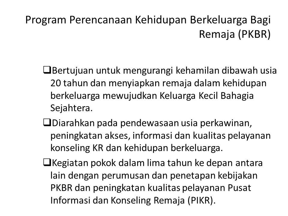 Program Perencanaan Kehidupan Berkeluarga Bagi Remaja (PKBR)  Bertujuan untuk mengurangi kehamilan dibawah usia 20 tahun dan menyiapkan remaja dalam kehidupan berkeluarga mewujudkan Keluarga Kecil Bahagia Sejahtera.