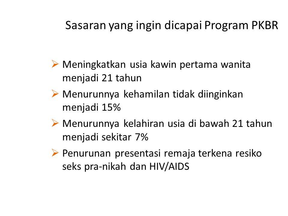 Sasaran yang ingin dicapai Program PKBR  Meningkatkan usia kawin pertama wanita menjadi 21 tahun  Menurunnya kehamilan tidak diinginkan menjadi 15%  Menurunnya kelahiran usia di bawah 21 tahun menjadi sekitar 7%  Penurunan presentasi remaja terkena resiko seks pra-nikah dan HIV/AIDS
