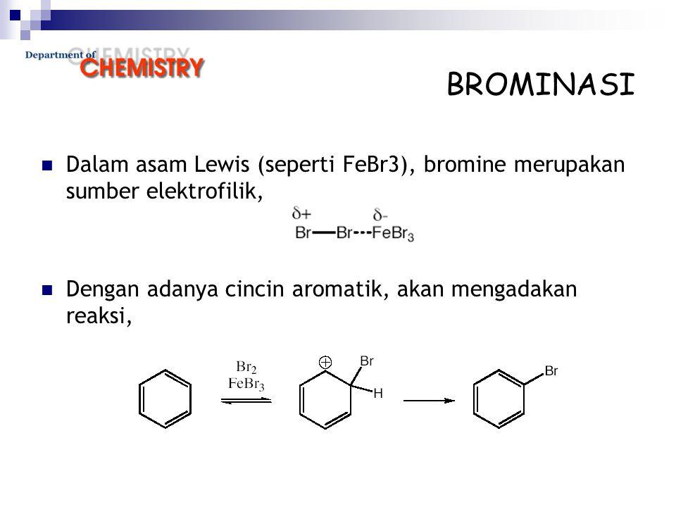 Dalam asam Lewis (seperti FeBr3), bromine merupakan sumber elektrofilik, Dengan adanya cincin aromatik, akan mengadakan reaksi,