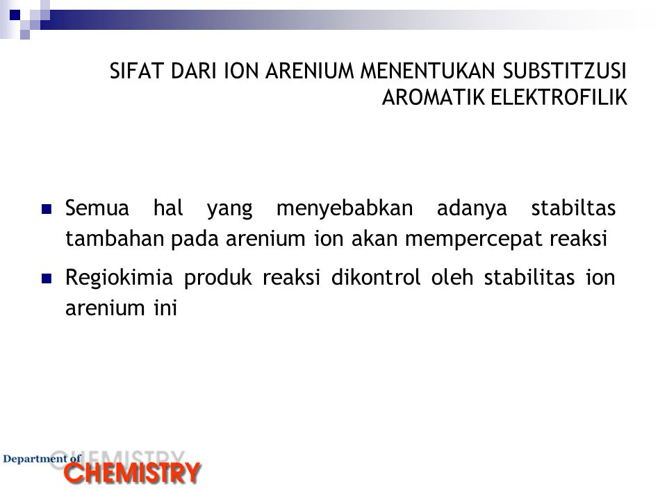 FAKTOR PENYEBAB DEAKTIVATOR/AKTIVATOR INDUKSI Substituen yang lebih elketronegatif dibanding dengan karbon secara induksi mengurangi densitas elektron cincin, RESONANSI Substituen yang memiliki elektron bebas dapat memberikan elektronnya kepada cincin melalui resonansi,