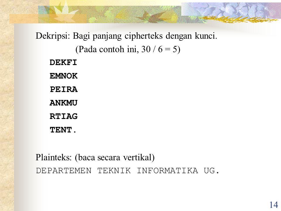 14 Dekripsi: Bagi panjang cipherteks dengan kunci.