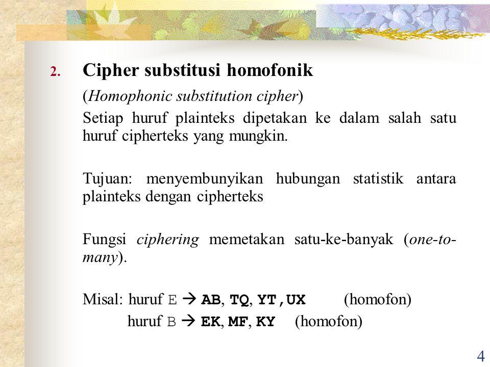 5 Contoh: Sebuah teks dengan frekuensi kemunculan huruf sbb: Huruf E muncul 13 %  dikodekan dengan 13 huruf homofon