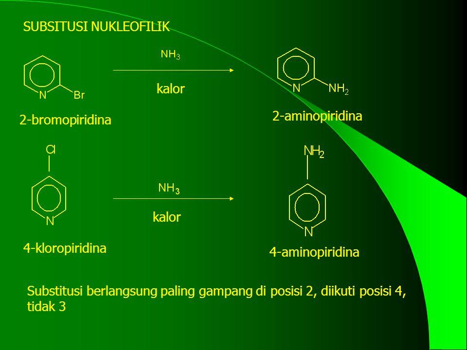 SUBSITUSI NUKLEOFILIK 2-bromopiridina 2-aminopiridina 4-kloropiridina 4-aminopiridina kalor Substitusi berlangsung paling gampang di posisi 2, diikuti posisi 4, tidak 3