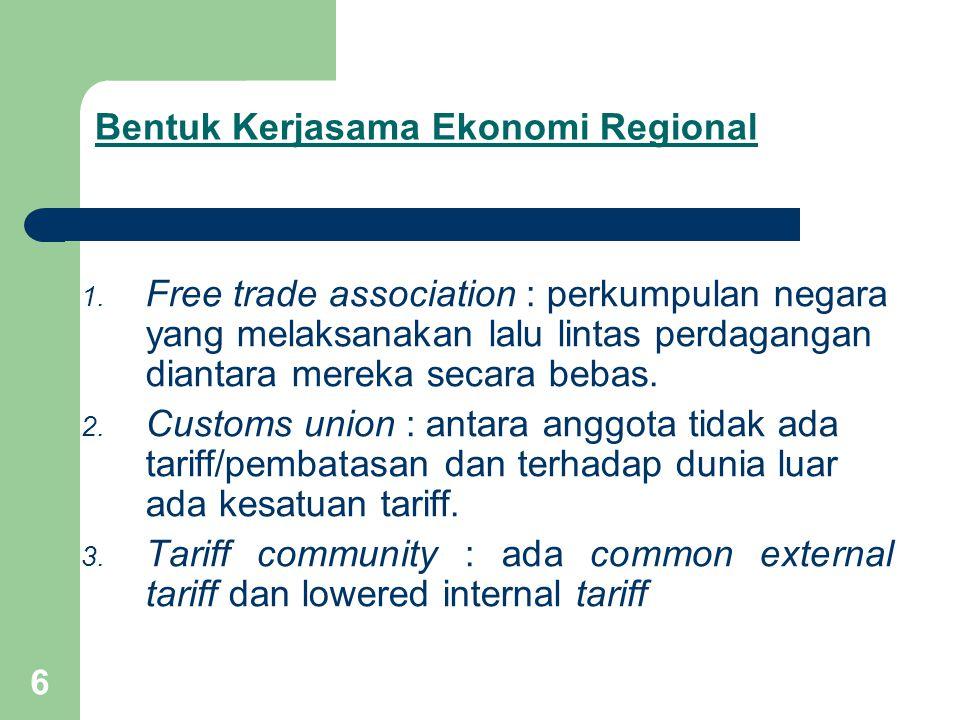 6 Bentuk Kerjasama Ekonomi Regional 1. Free trade association : perkumpulan negara yang melaksanakan lalu lintas perdagangan diantara mereka secara be