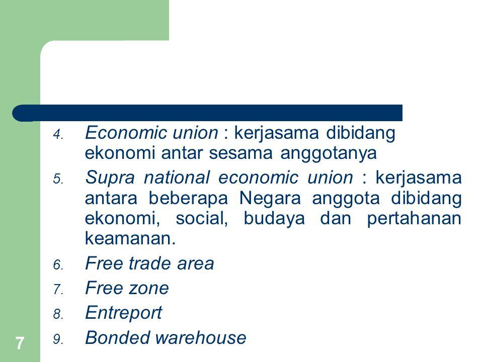 7 4. Economic union : kerjasama dibidang ekonomi antar sesama anggotanya 5. Supra national economic union : kerjasama antara beberapa Negara anggota d