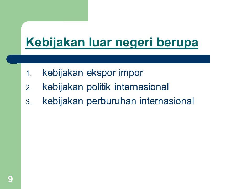 9 Kebijakan luar negeri berupa 1. kebijakan ekspor impor 2. kebijakan politik internasional 3. kebijakan perburuhan internasional