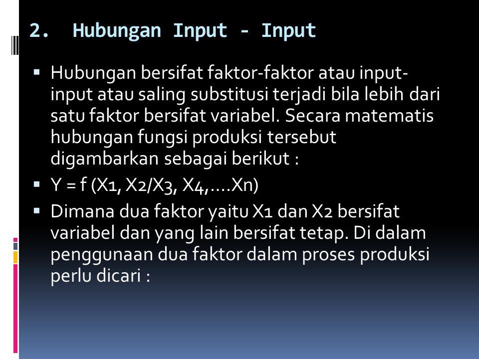 2.Hubungan Input - Input  Hubungan bersifat faktor-faktor atau input- input atau saling substitusi terjadi bila lebih dari satu faktor bersifat varia
