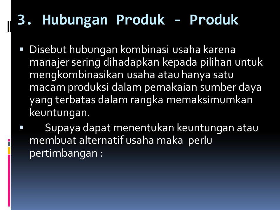 3.Hubungan Produk - Produk  Disebut hubungan kombinasi usaha karena manajer sering dihadapkan kepada pilihan untuk mengkombinasikan usaha atau hanya