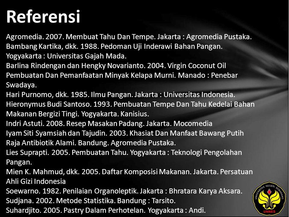 Referensi Agromedia. 2007. Membuat Tahu Dan Tempe.