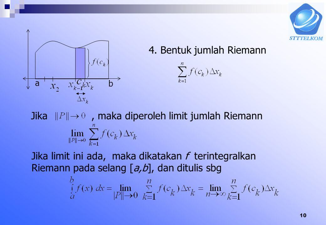 9 6.4 Integral Tentu Integral tentu dikonstruksi dengan jumlah Rieman yang menggambarkan luas daerah. Misal fungsi f(x) terdefinisi pada selang tutup