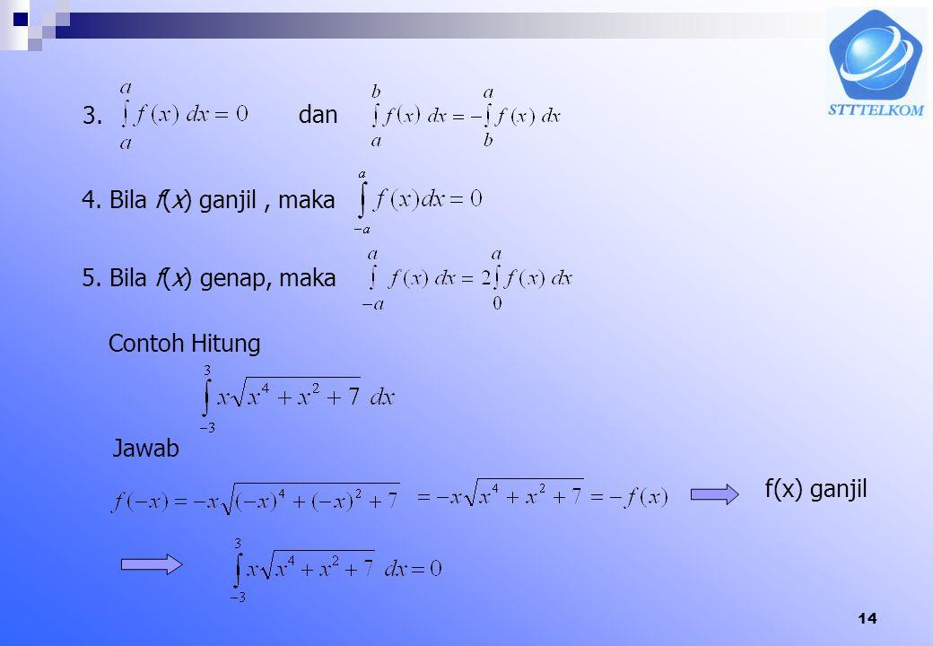 13 Ctt: Jika fungsi y=f(x) positif pada selang [a,b] maka integral tentu diatas menyatakan luas daerah yang terletak dibawah grafik y=f(x) dan diatas