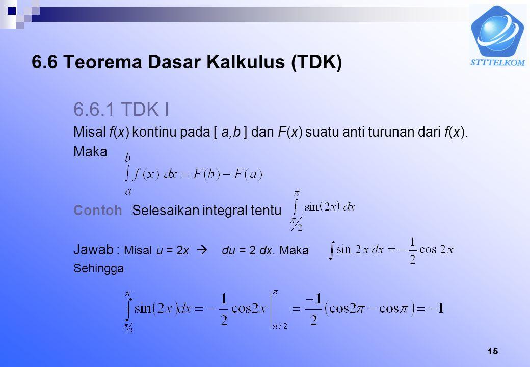 14 3. dan 4. Bila f(x) ganjil, maka 5. Bila f(x) genap, maka Contoh Hitung Jawab f(x) ganjil