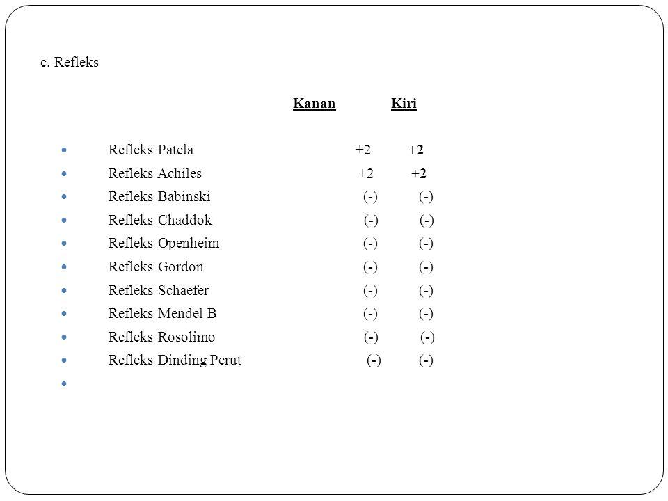 c. Refleks Kanan Kiri Refleks Patela +2 +2 Refleks Achiles +2 +2 Refleks Babinski (-) (-) Refleks Chaddok (-) (-) Refleks Openheim (-) (-) Refleks Gor