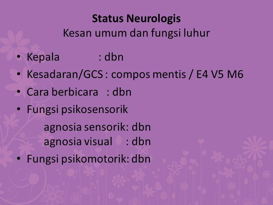 Status Neurologis Kesan umum dan fungsi luhur Kepala: dbn Kesadaran/GCS : compos mentis / E4 V5 M6 Cara berbicara : dbn Fungsi psikosensorik agnosia s