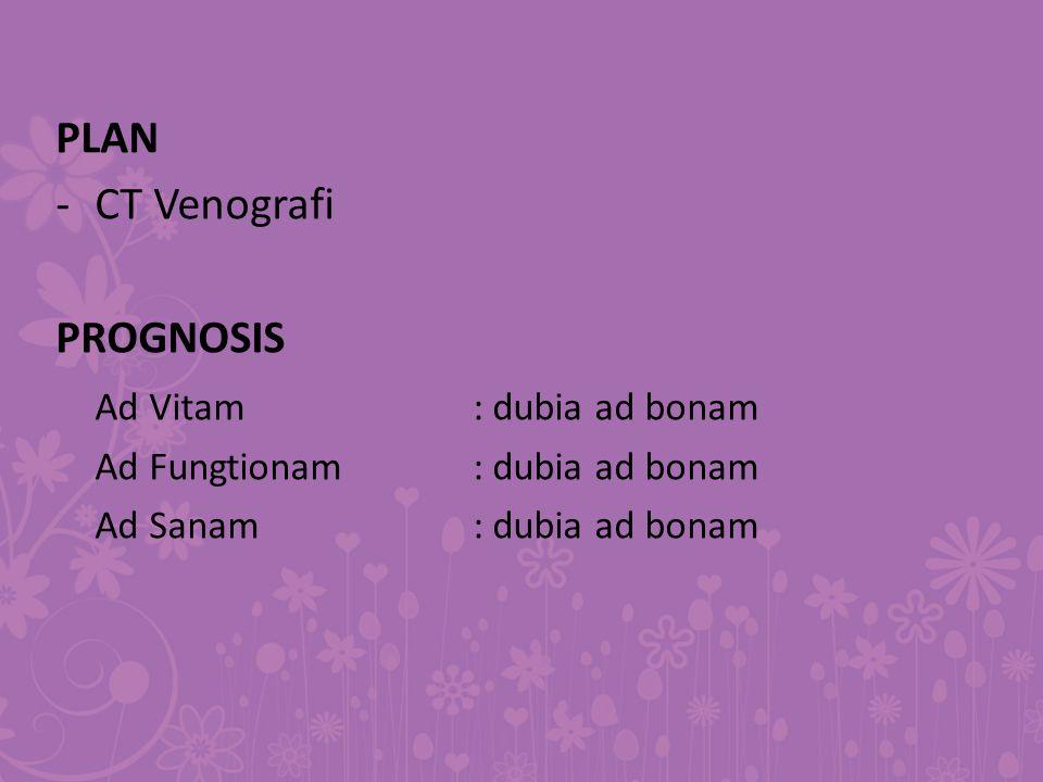 PLAN -CT Venografi PROGNOSIS Ad Vitam: dubia ad bonam Ad Fungtionam: dubia ad bonam Ad Sanam: dubia ad bonam