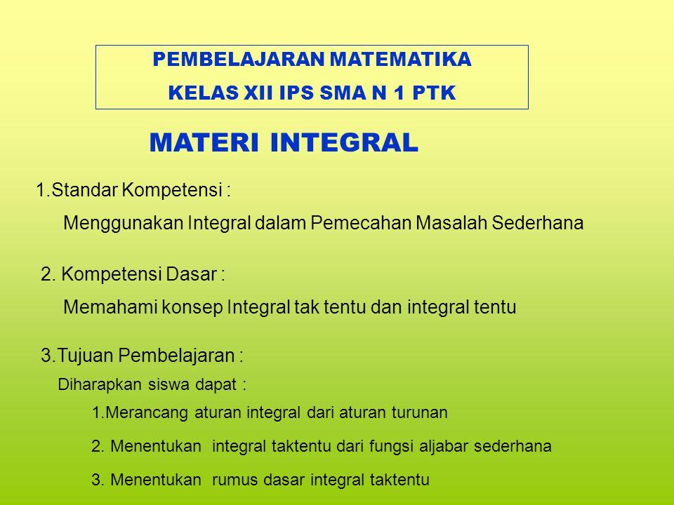 1.Standar Kompetensi : Memahami konsep Integral tak tentu dan integral tentu 2.