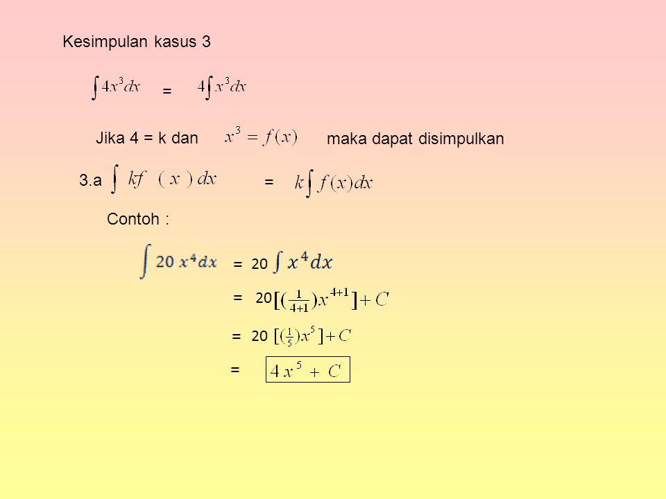 Kesimpulan kasus 3 = Jika 4 = k dan maka dapat disimpulkan = 3.a Contoh : 20 = = = =
