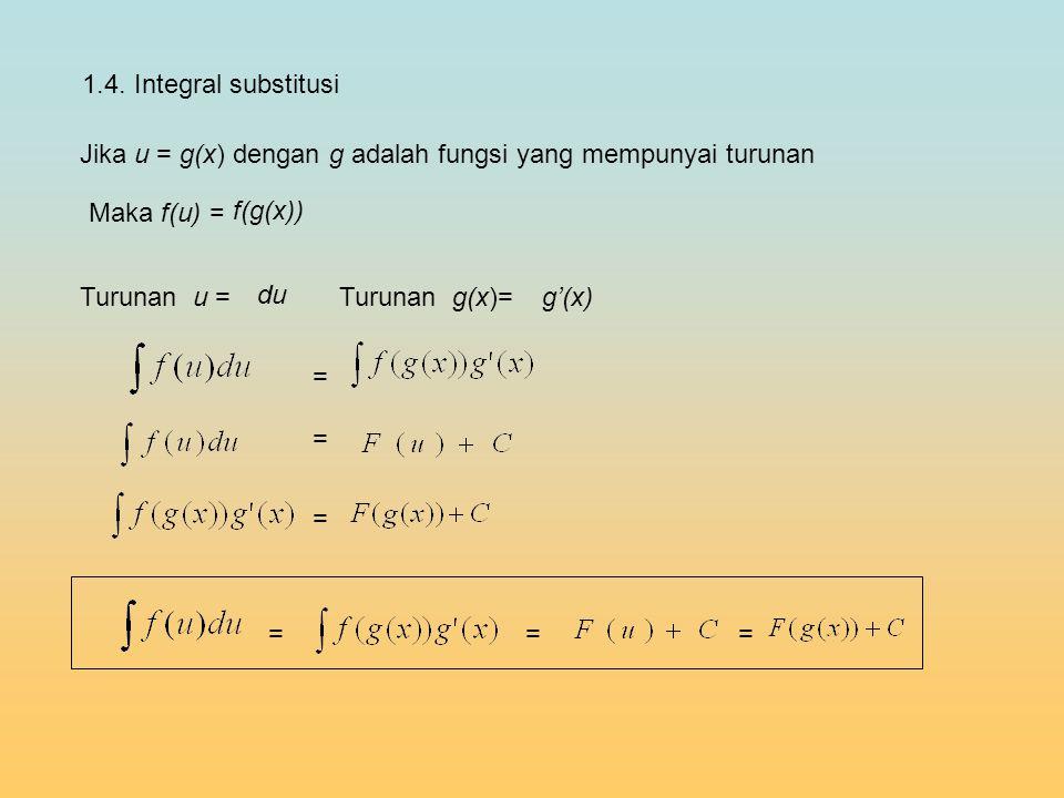 1.4. Integral substitusi Jika u = g(x) dengan g adalah fungsi yang mempunyai turunan du Turunan u =Turunan g(x)= g'(x) Maka f(u) = f(g(x)) = = = ===