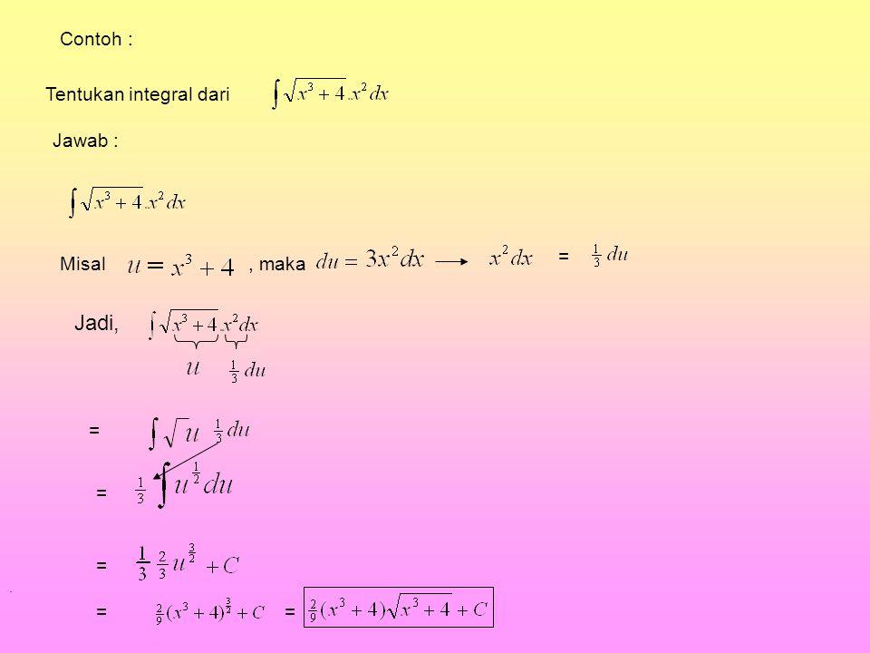 Tentukan integral dari Jawab : Misal, maka = Jadi, = = =. == Contoh :