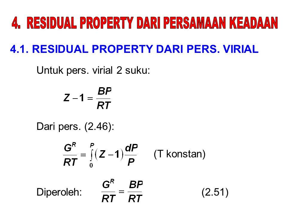 4.1. RESIDUAL PROPERTY DARI PERS. VIRIAL Untuk pers. virial 2 suku: Dari pers. (2.46): Diperoleh:(2.51) (T konstan)