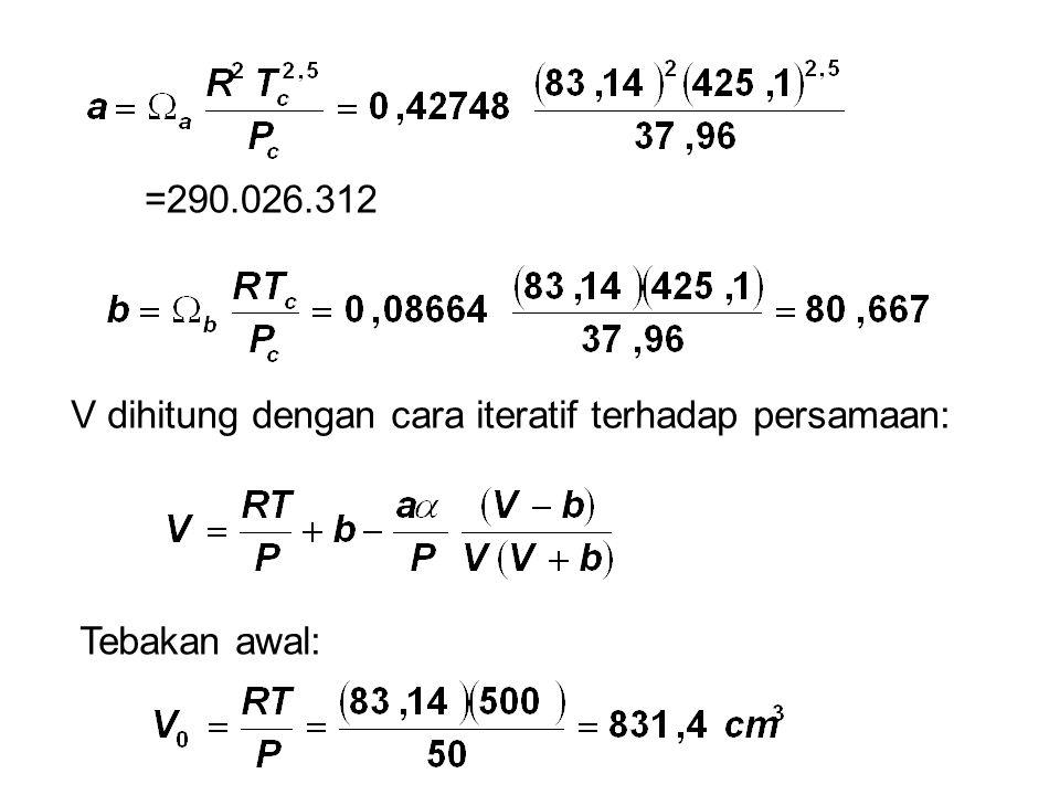 =290.026.312 V dihitung dengan cara iteratif terhadap persamaan: Tebakan awal: