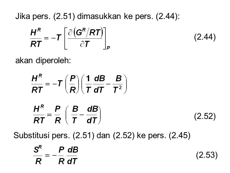 (2.44) Jika pers. (2.51) dimasukkan ke pers. (2.44): akan diperoleh: Substitusi pers.