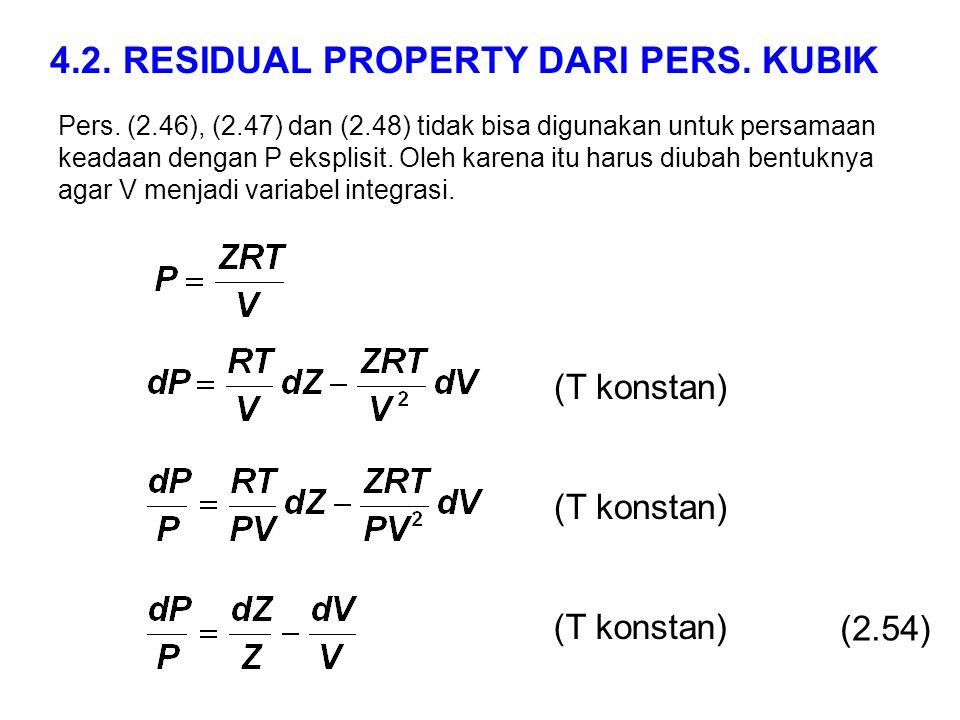 Pers. (2.46), (2.47) dan (2.48) tidak bisa digunakan untuk persamaan keadaan dengan P eksplisit. Oleh karena itu harus diubah bentuknya agar V menjadi