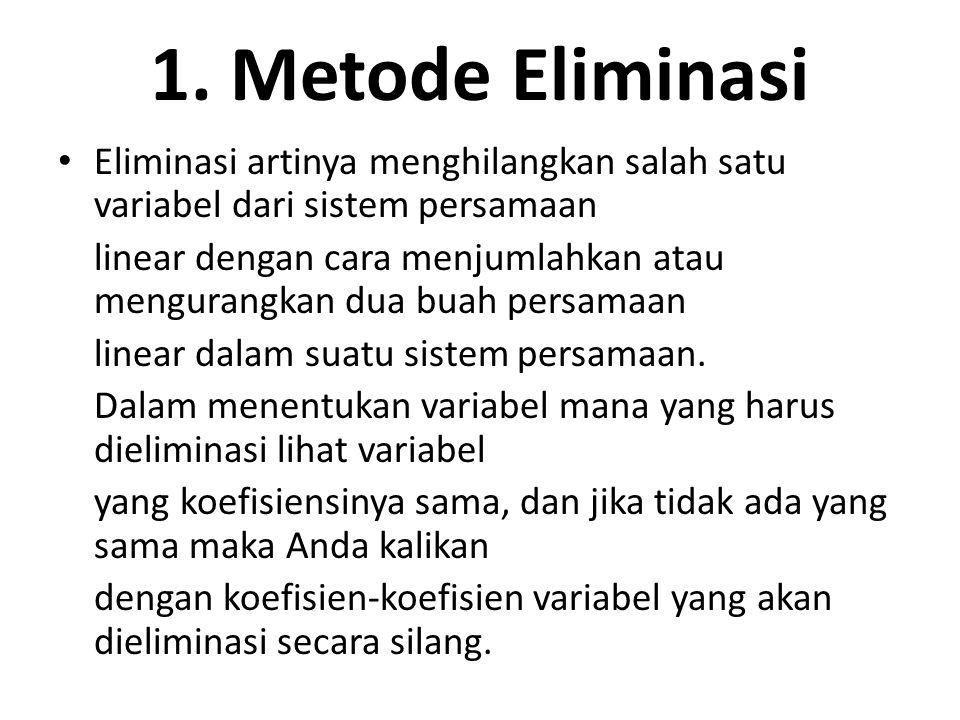 1. Metode Eliminasi Eliminasi artinya menghilangkan salah satu variabel dari sistem persamaan linear dengan cara menjumlahkan atau mengurangkan dua bu