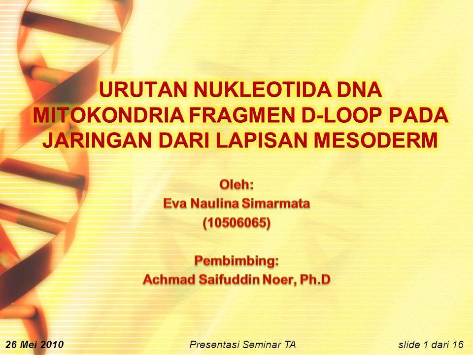 slide 1 dari 1626 Mei 2010 Presentasi Seminar TA