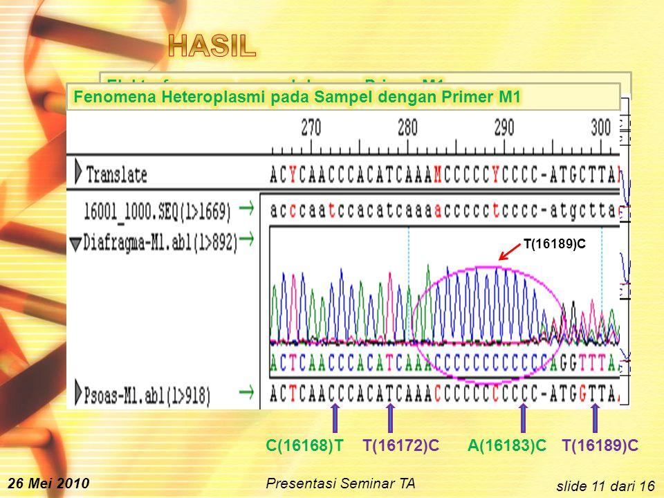 slide 11 dari 16 T(16189)CA(16183)CT(16172)C C(16168)T T(16189)C 26 Mei 2010 Presentasi Seminar TA