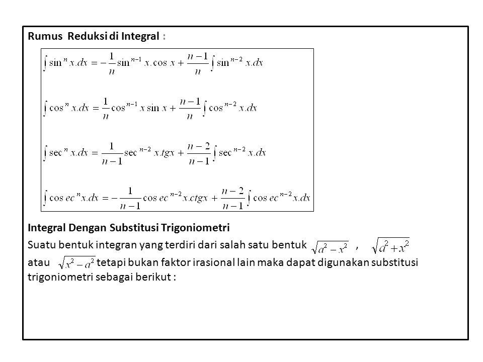 1.Untuk gunakan x= a sin u untuk memperoleh =a cosu 2.Untuk gunakan x= a tg u untuk memperoleh =a sec u 3.Untuk gunakan x= a sec u untuk memperoleh =a tg u Untuk tiap bentuk integrasi menghasilkan pernyataan dalam variabel u.