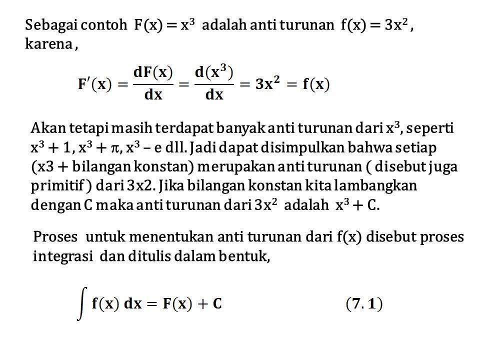 Simbol ∫ disebut tanda integral dan persamaan 7.1 dibaca integral tak tentu dari f(x) terhadap x adalah F(x) ditambah bilangan konstan .