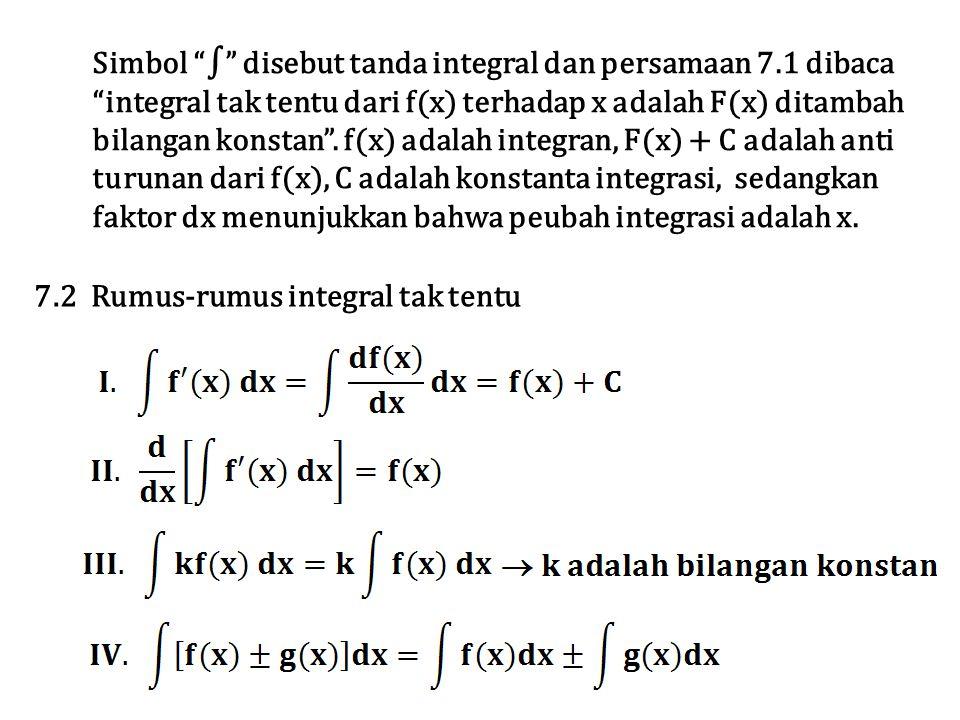 """Simbol """"∫"""" disebut tanda integral dan persamaan 7.1 dibaca """"integral tak tentu dari f(x) terhadap x adalah F(x) ditambah bilangan konstan"""". f(x) adala"""