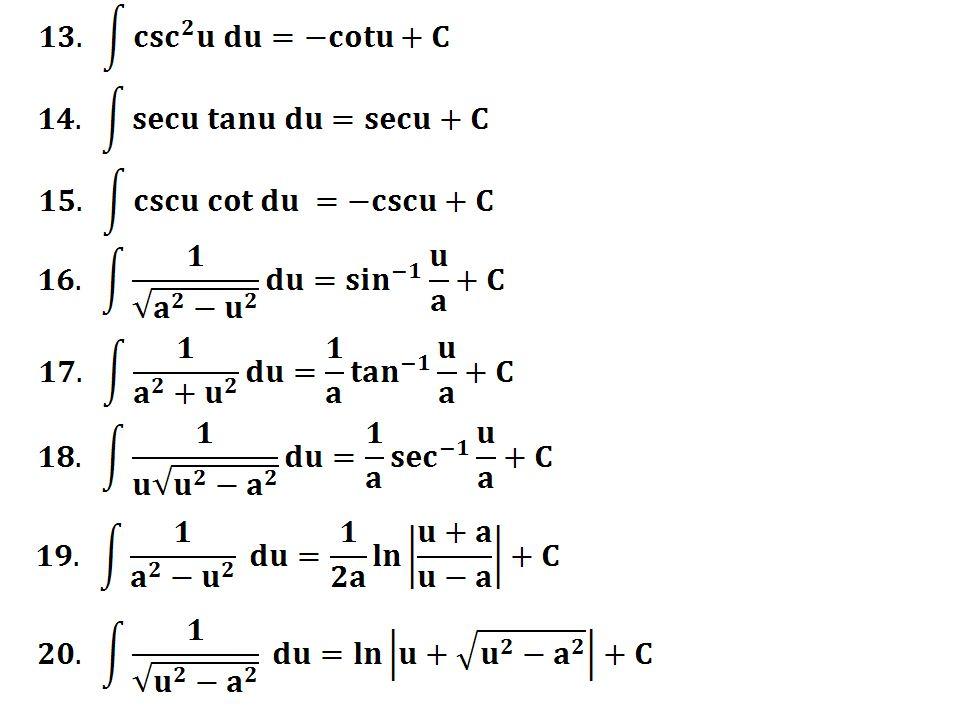7.8.2 Integrasi fungsi yang mempunyai bentuk 1/(x2+a2) x a u Bukti Dari gambar diatas didapat, a tanu = x  a sec -1 u du = dx