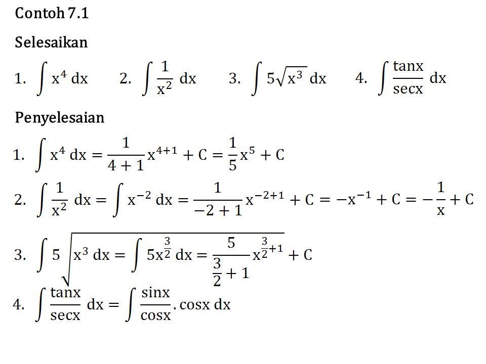 Langkah awal untuk menyelesaikan integral fungsi irrasional adalah dengan mengu8bah integran yang berbentuk irrasional menjadi rasional.