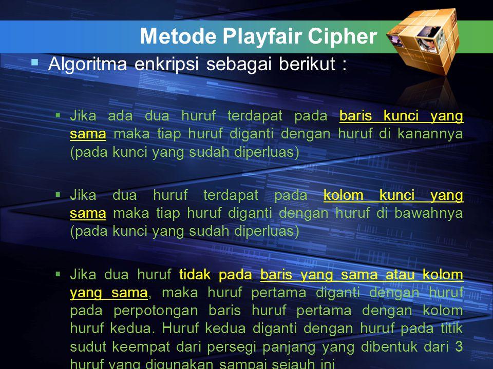 Metode Playfair Cipher  Algoritma enkripsi sebagai berikut :  Jika ada dua huruf terdapat pada baris kunci yang sama maka tiap huruf diganti dengan