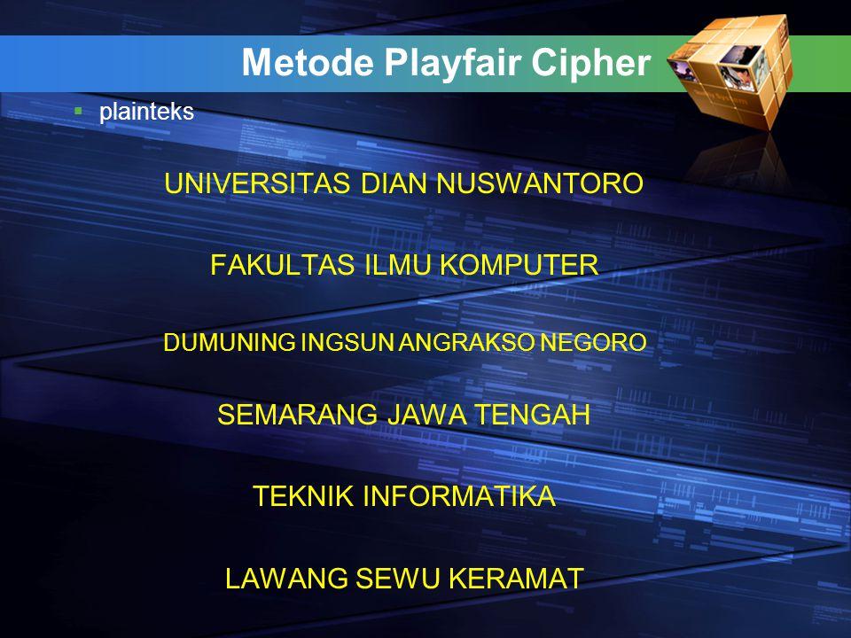 Metode Playfair Cipher  plainteks UNIVERSITAS DIAN NUSWANTORO FAKULTAS ILMU KOMPUTER DUMUNING INGSUN ANGRAKSO NEGORO SEMARANG JAWA TENGAH TEKNIK INFO