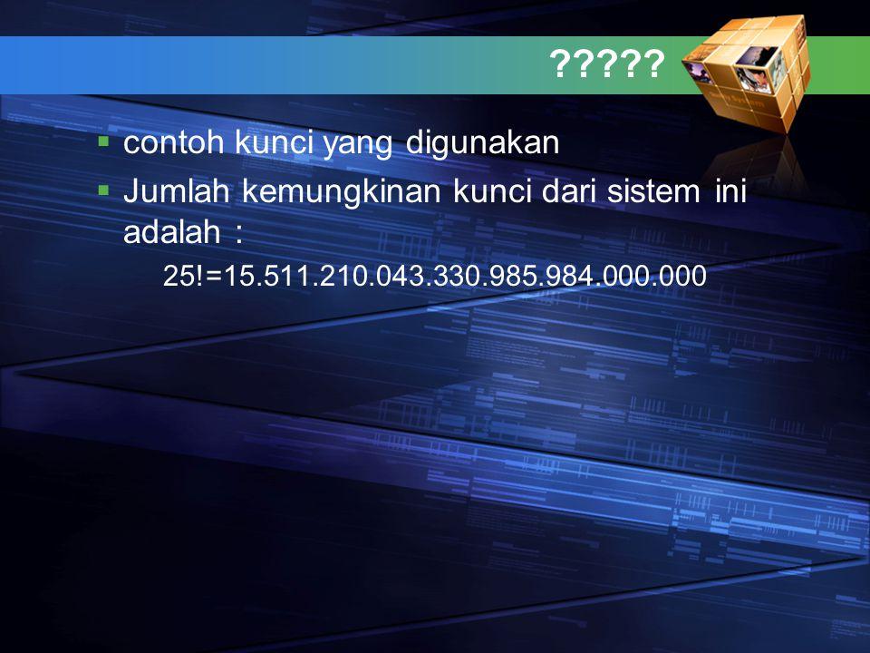 ?????  contoh kunci yang digunakan  Jumlah kemungkinan kunci dari sistem ini adalah : 25!=15.511.210.043.330.985.984.000.000