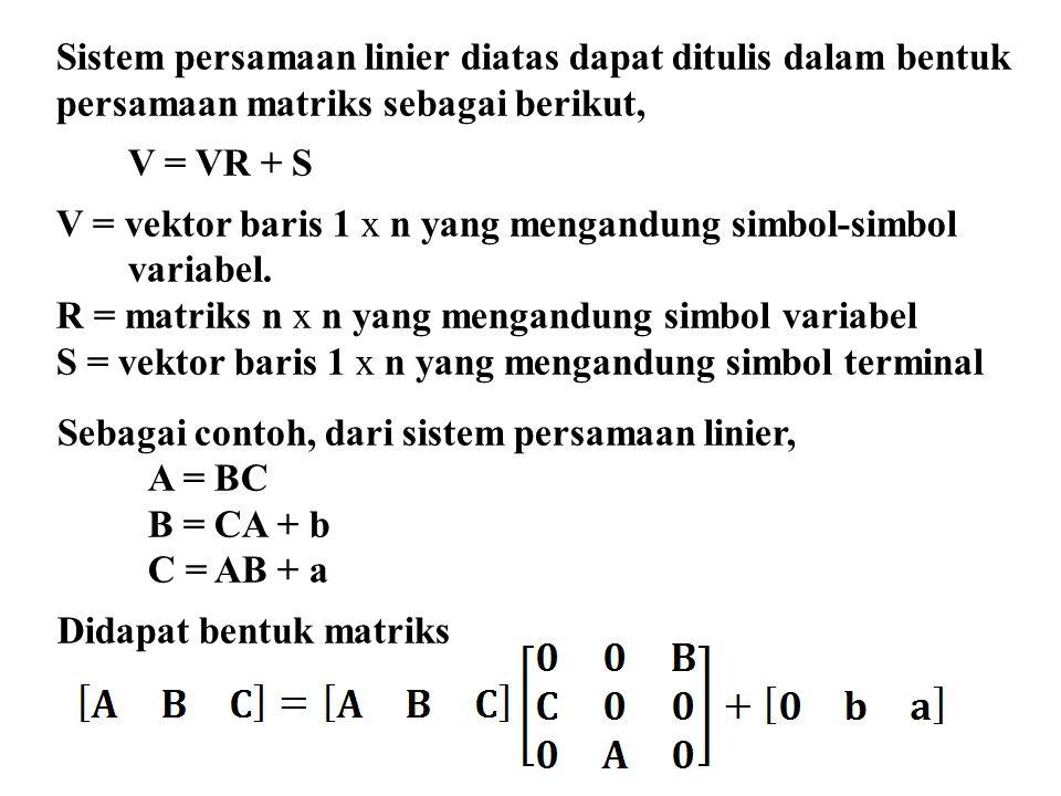 Sistem persamaan linier diatas dapat ditulis dalam bentuk persamaan matriks sebagai berikut, V = VR + S V = vektor baris 1 x n yang mengandung simbol-