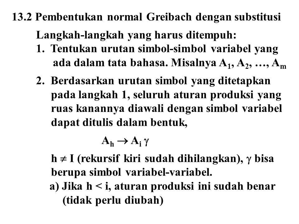 13.2 Pembentukan normal Greibach dengan substitusi Langkah-langkah yang harus ditempuh: 1. Tentukan urutan simbol-simbol variabel yang ada dalam tata