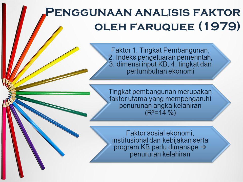 Penggunaan analisis faktor oleh faruquee (1979) Faktor 1. Tingkat Pembangunan, 2. Indeks pengeluaran pemerintah, 3. dimensi input KB, 4. tingkat dan p
