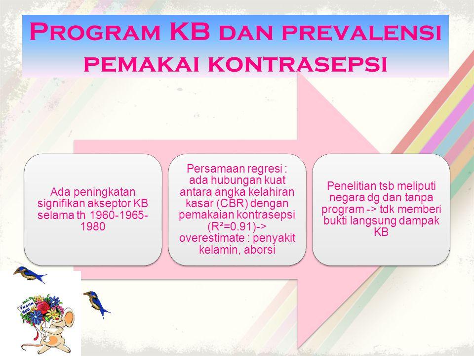 Program KB dan prevalensi pemakai kontrasepsi Ada peningkatan signifikan akseptor KB selama th 1960-1965- 1980 Persamaan regresi : ada hubungan kuat antara angka kelahiran kasar (CBR) dengan pemakaian kontrasepsi (R²=0.91)-> overestimate : penyakit kelamin, aborsi Penelitian tsb meliputi negara dg dan tanpa program -> tdk memberi bukti langsung dampak KB