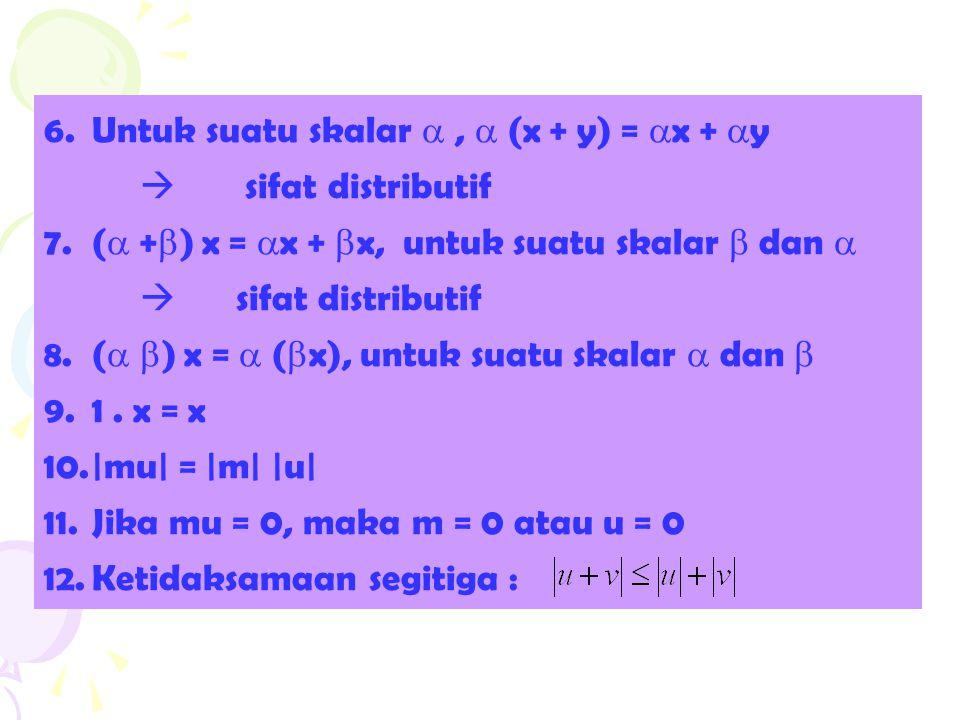 6.Untuk suatu skalar ,  (x + y) =  x +  y  sifat distributif 7.(  +  ) x =  x +  x, untuk suatu skalar  dan   sifat distributif 8.(   )