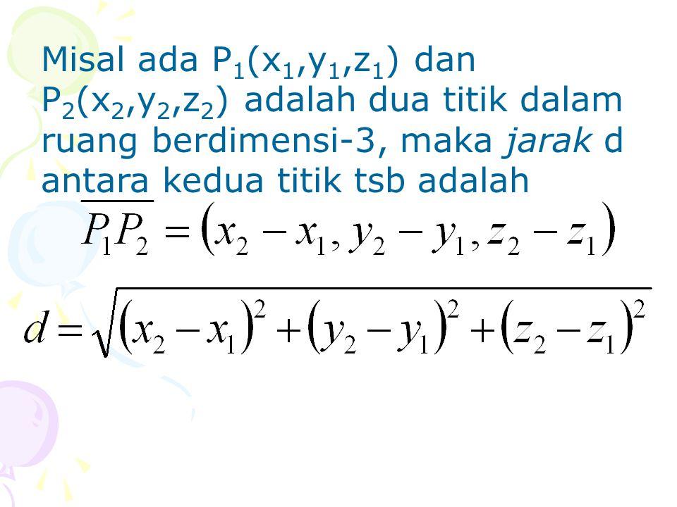 Misal ada P 1 (x 1,y 1,z 1 ) dan P 2 (x 2,y 2,z 2 ) adalah dua titik dalam ruang berdimensi-3, maka jarak d antara kedua titik tsb adalah