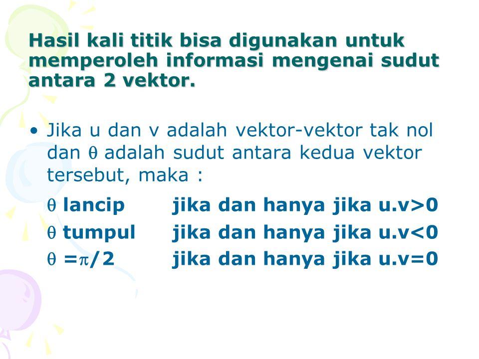 Hasil kali titik bisa digunakan untuk memperoleh informasi mengenai sudut antara 2 vektor. Jika u dan v adalah vektor-vektor tak nol dan  adalah sudu