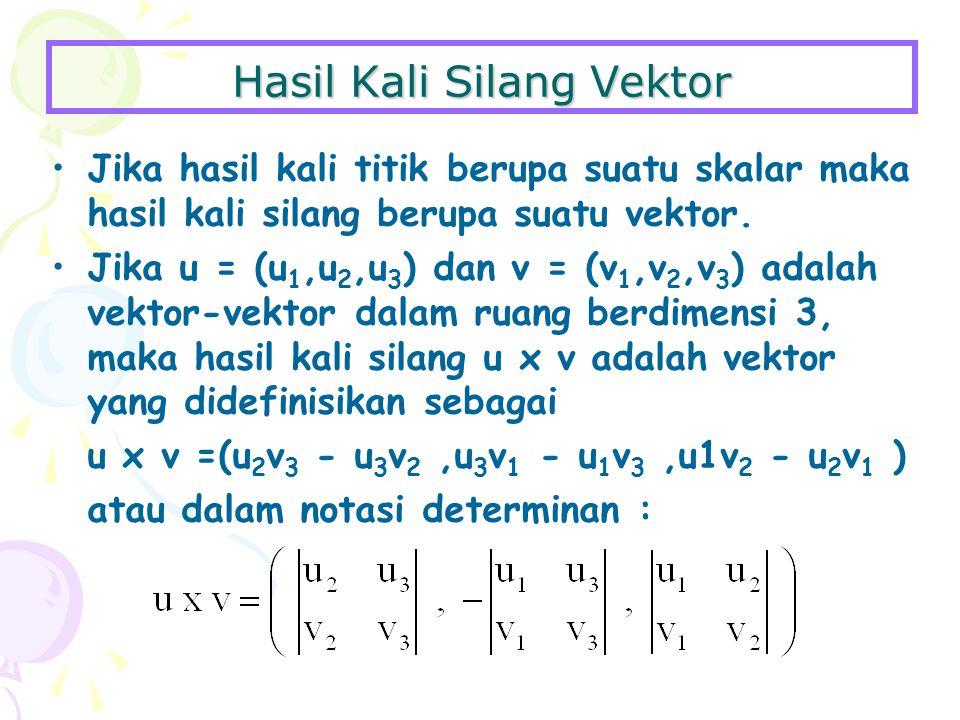 Hasil Kali Silang Vektor Jika hasil kali titik berupa suatu skalar maka hasil kali silang berupa suatu vektor.