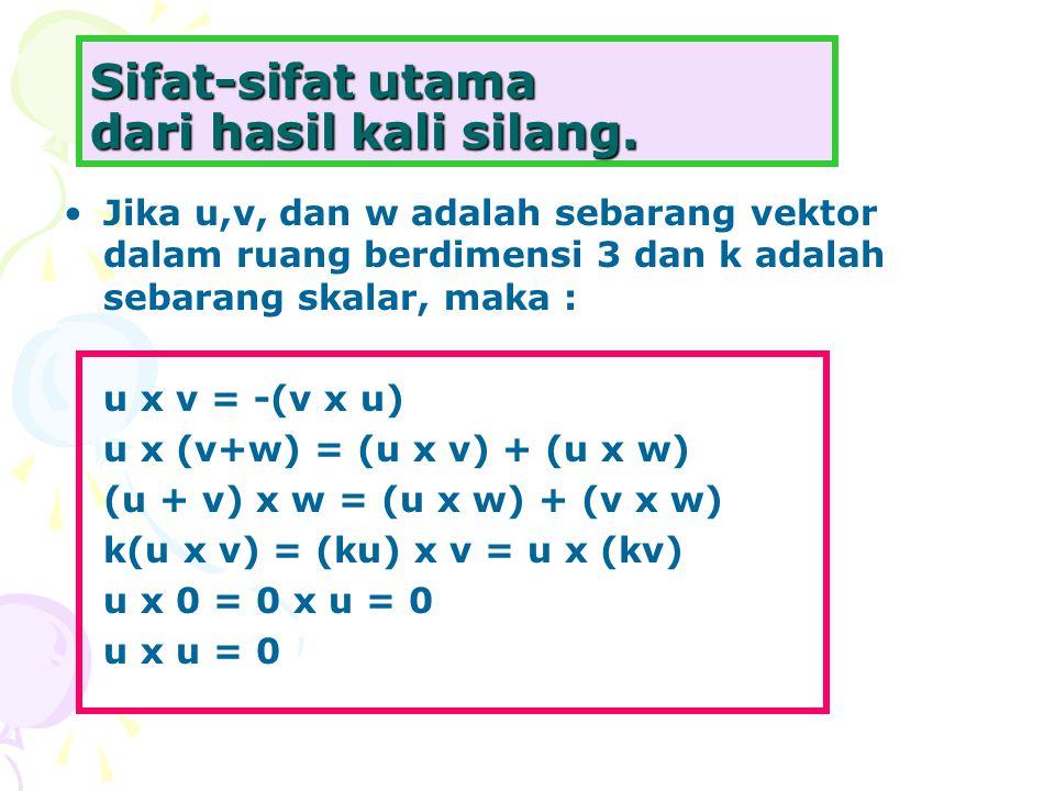 Sifat-sifat utama dari hasil kali silang. Jika u,v, dan w adalah sebarang vektor dalam ruang berdimensi 3 dan k adalah sebarang skalar, maka : u x v =