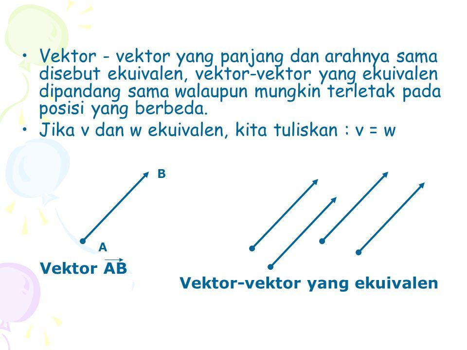 Vektor - vektor yang panjang dan arahnya sama disebut ekuivalen, vektor-vektor yang ekuivalen dipandang sama walaupun mungkin terletak pada posisi yang berbeda.
