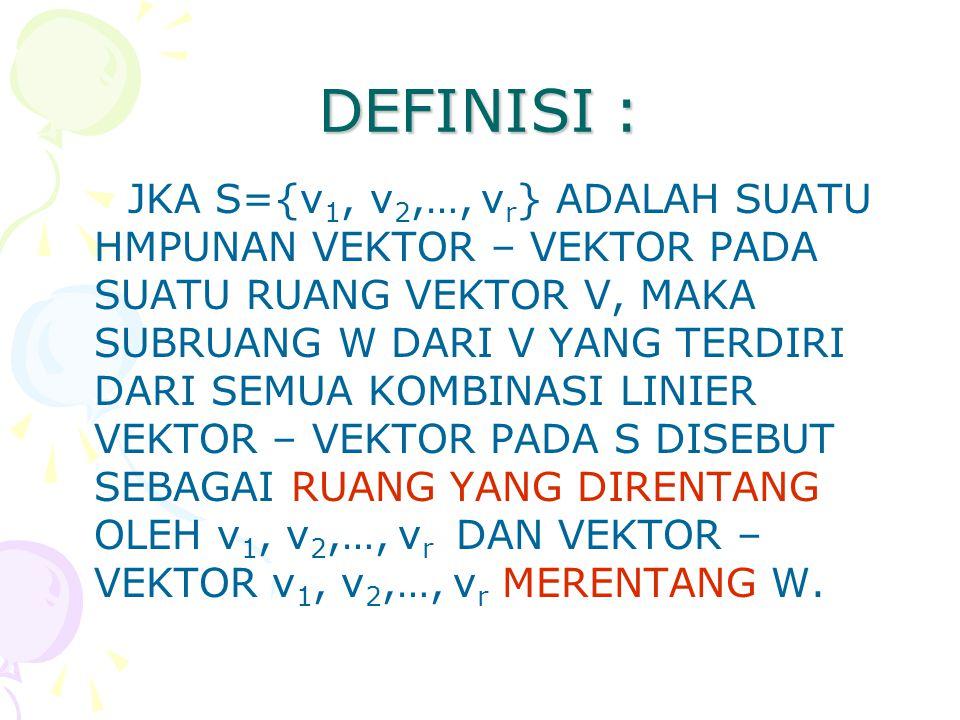 DEFINISI : JKA S={v 1, v 2,…, v r } ADALAH SUATU HMPUNAN VEKTOR – VEKTOR PADA SUATU RUANG VEKTOR V, MAKA SUBRUANG W DARI V YANG TERDIRI DARI SEMUA KOMBINASI LINIER VEKTOR – VEKTOR PADA S DISEBUT SEBAGAI RUANG YANG DIRENTANG OLEH v 1, v 2,…, v r DAN VEKTOR – VEKTOR v 1, v 2,…, v r MERENTANG W.